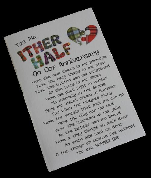 scottish anniversary card partner other half tartan heart scots language