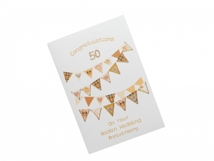 scottish golden 50th anniversary card tartan bunting