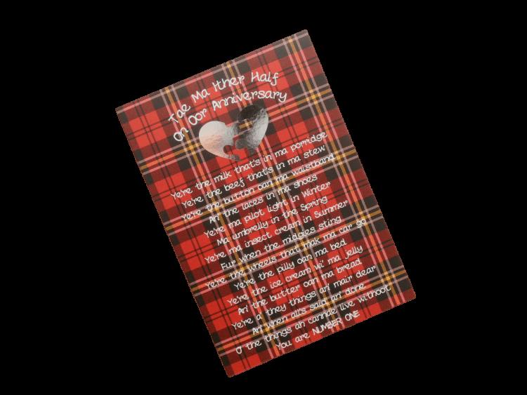 scottish anniversary card tartan heart other half doric scots language