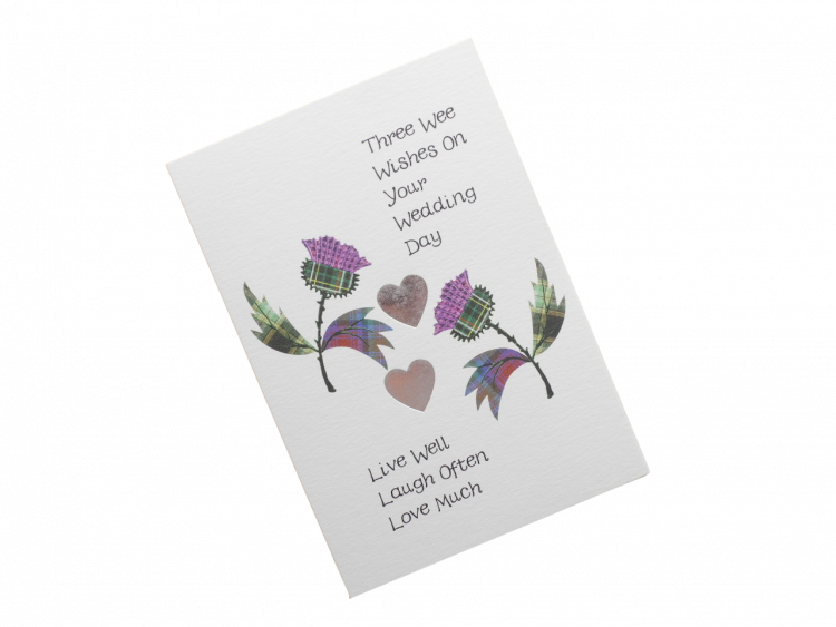 scottish wedding card tartan thistles Scots Doric language