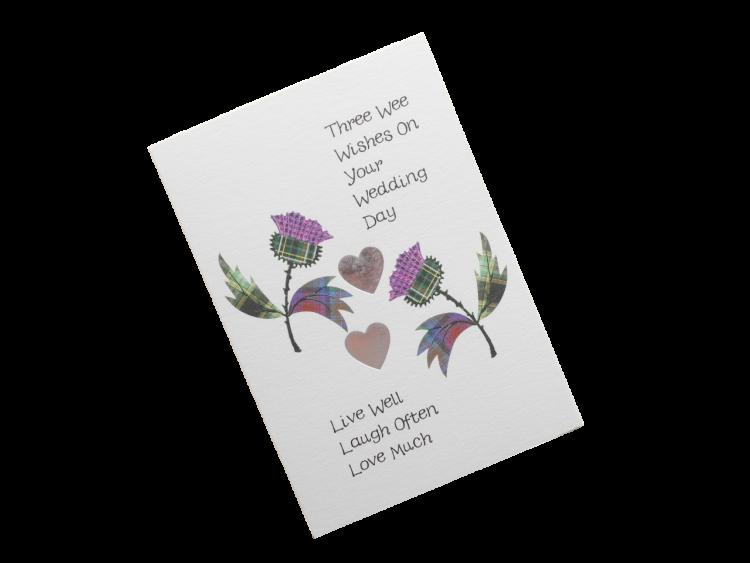 scottish wedding card tartan thistles Scots Doric language