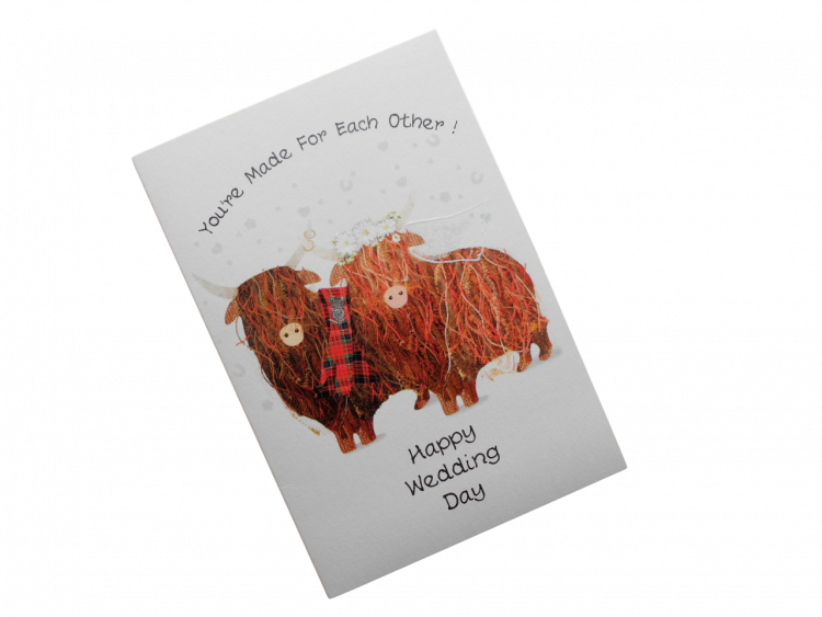scottish wedding card highland cows tartan scots language