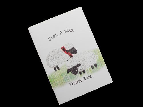 scottish thank you card tartan sheep scots language