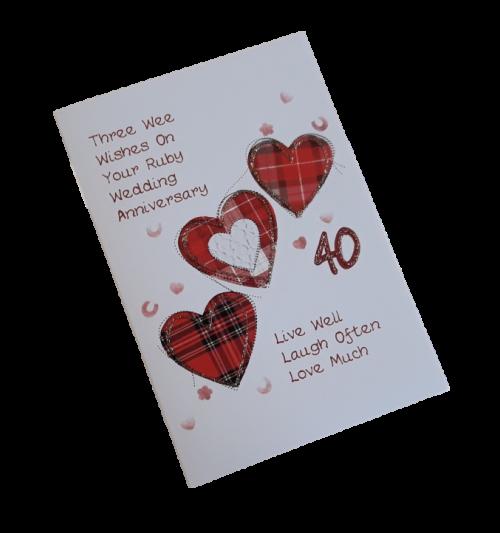 scottish ruby 40th anniversary card tartan hearts scots language