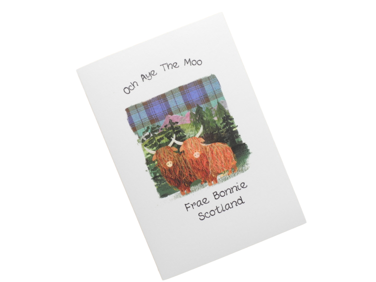 scottish card from scotland highland cow scots language