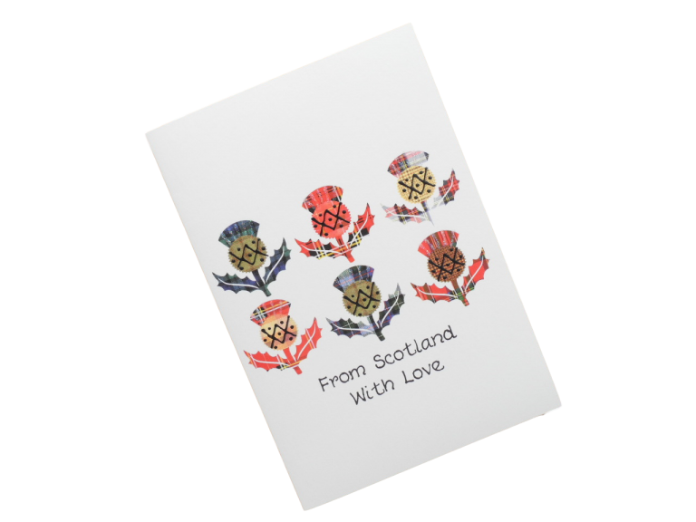 scottish card from scotland tartan thistles