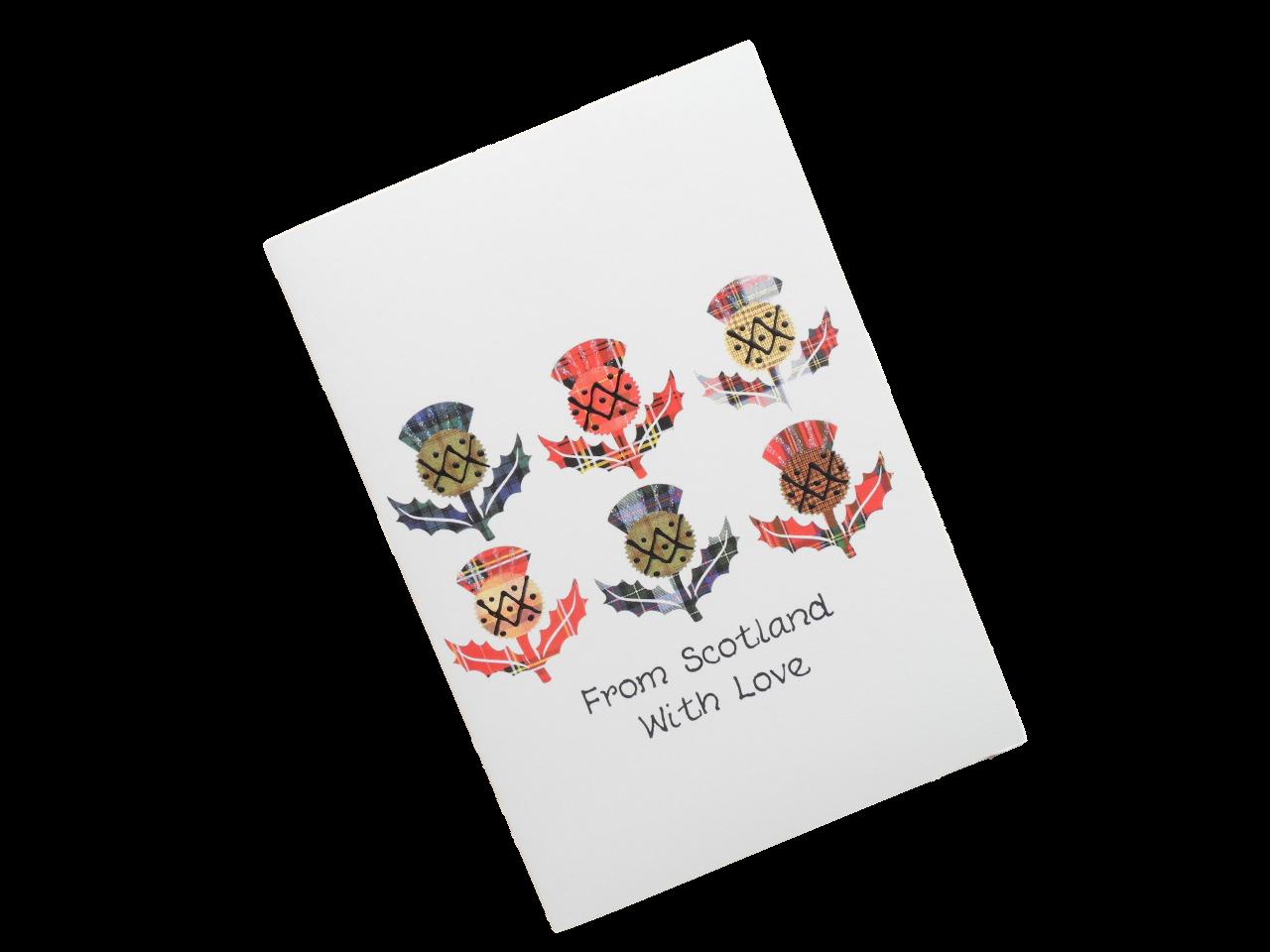 scottish card from scotland tartan thistles