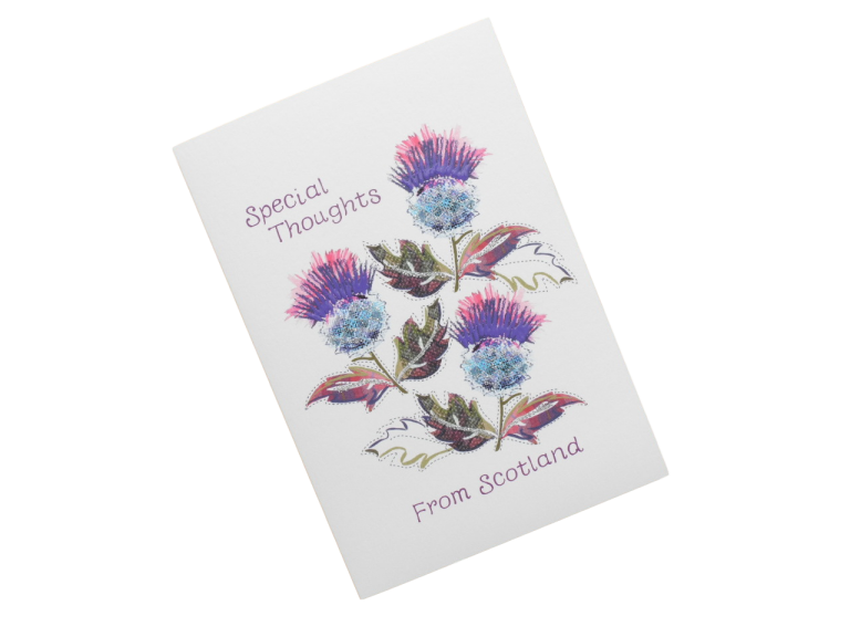 scottish card from scotland purple thistles