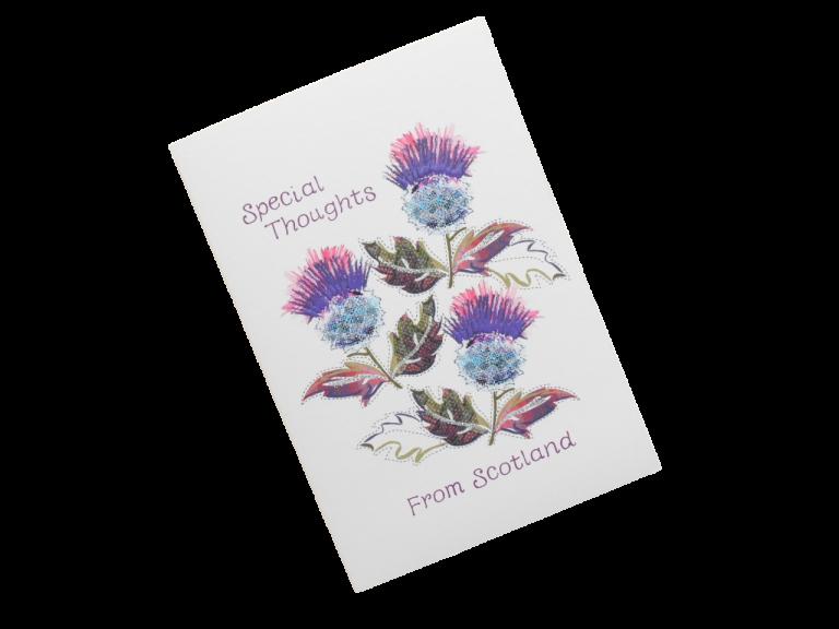 scottish card from scotland purple thistles