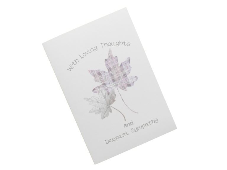 scottish sympathy card tartan leaves