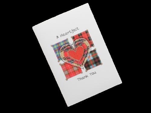 scottish thank you card tartan heart