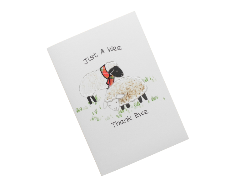 scottish thank you card tartan sheep scots language