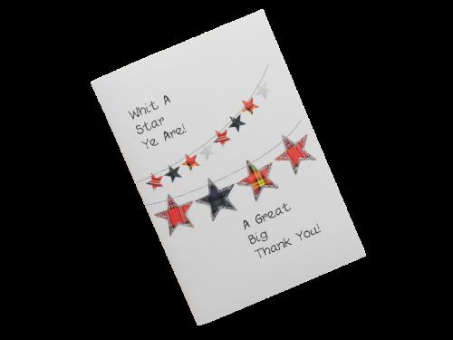 scottish thank you card tartan stars scots language