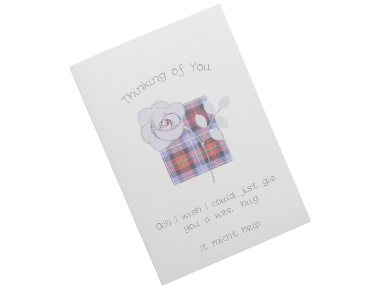 scottish sympathy card tartan rose scots language
