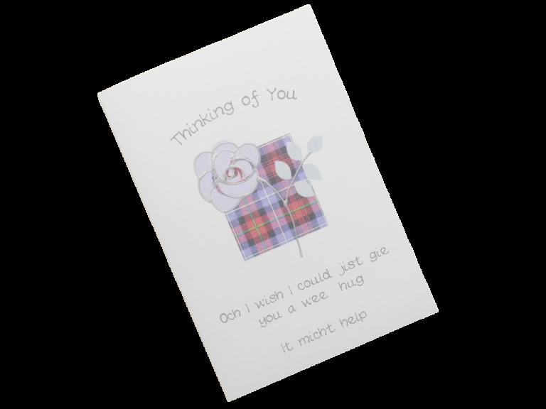 scottish sympathy card tartan rose scots language