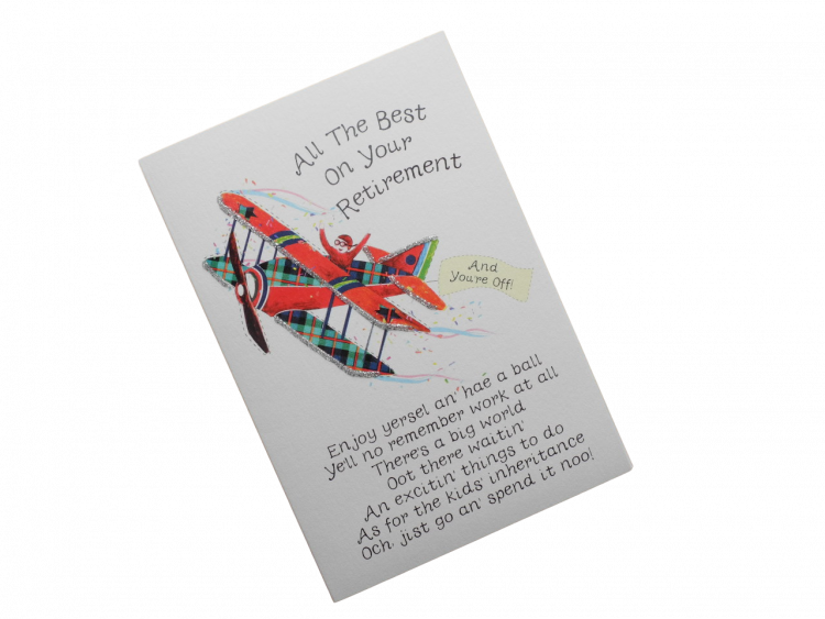 scottish retirement card tartan aeroplane scots language