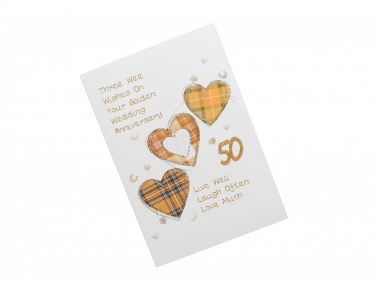 scottish golden 50th anniversary card tartan hearts