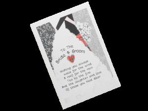 scottish wedding card bride and groom tartan kilt embrace