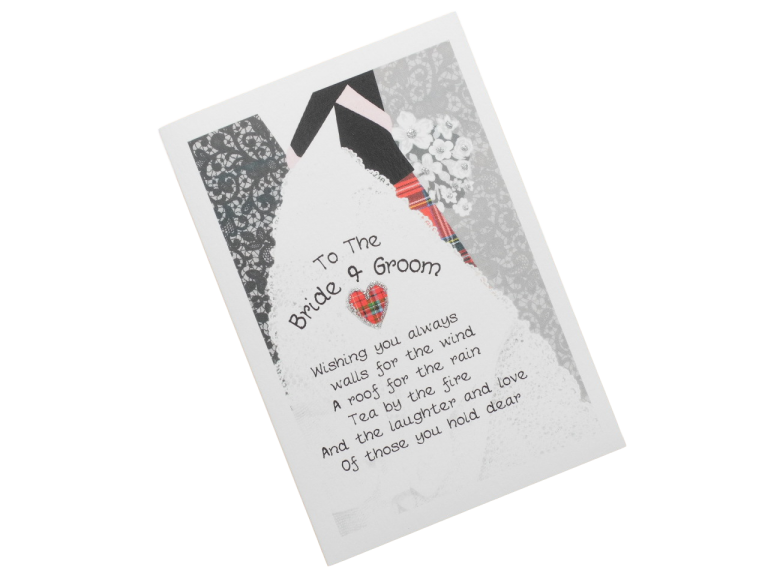 scottish wedding card bride and groom tartan kilt embrace