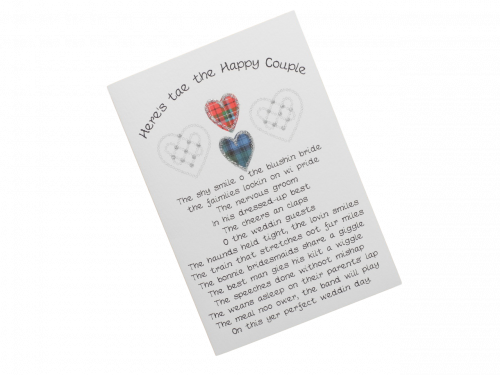scottish wedding card tartan and celtic hearts scots language