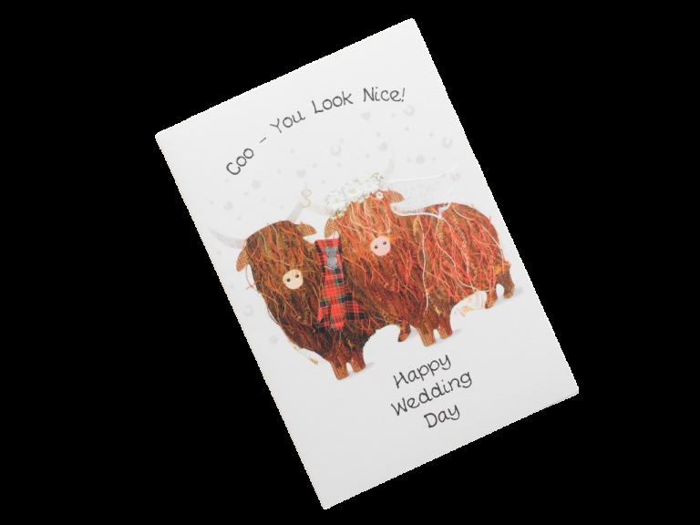 scottish wedding card highland cows tartan scots language
