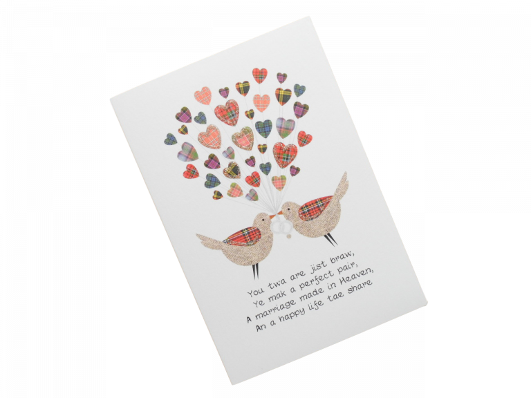 scottish wedding card tartan love birds hearts scots language