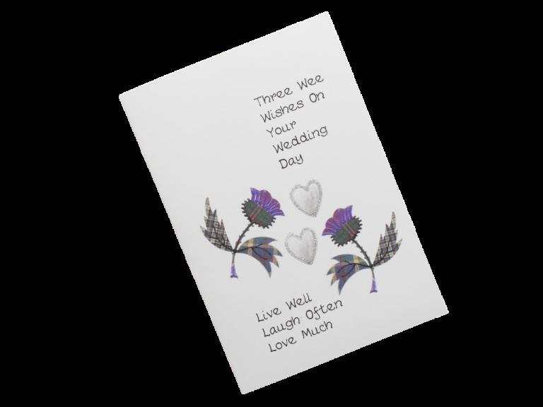 scottish wedding card tartan thistles scots language