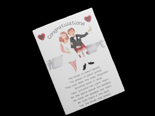 scottish wedding card bride and groom tartan kilt champagne glasses