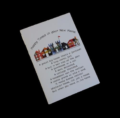 scottish new home card tartan row of houses scots language