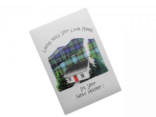 scottish new home card thatched cottage tartan doric scots language