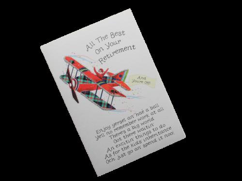scottish retirement card tartan aeroplane doric scots language