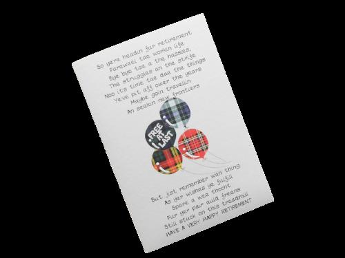 scottish retirement card tartan balloons doric scots language