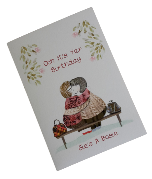 scottish birthday card cuddle bosie female scots language