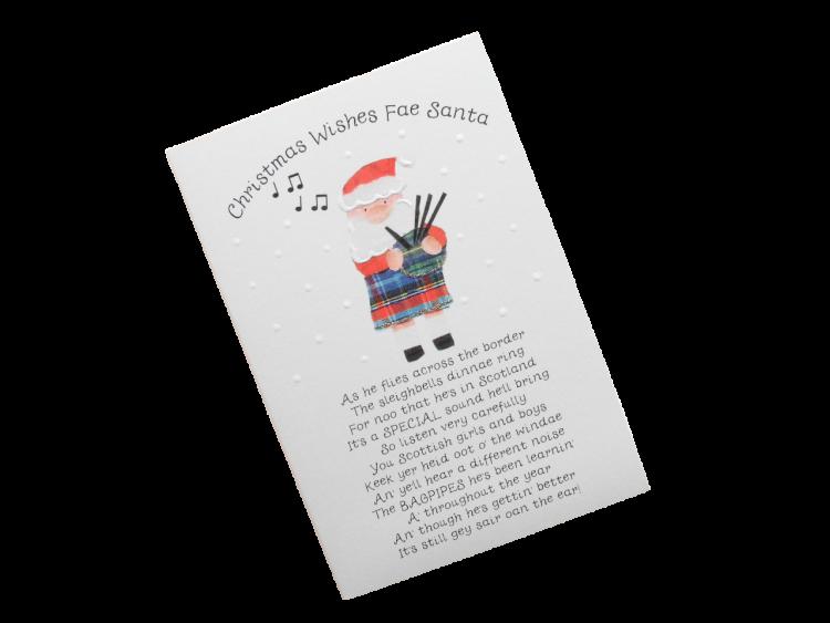 scottish christmas card tartan santa bagpipes scots language humorous funny