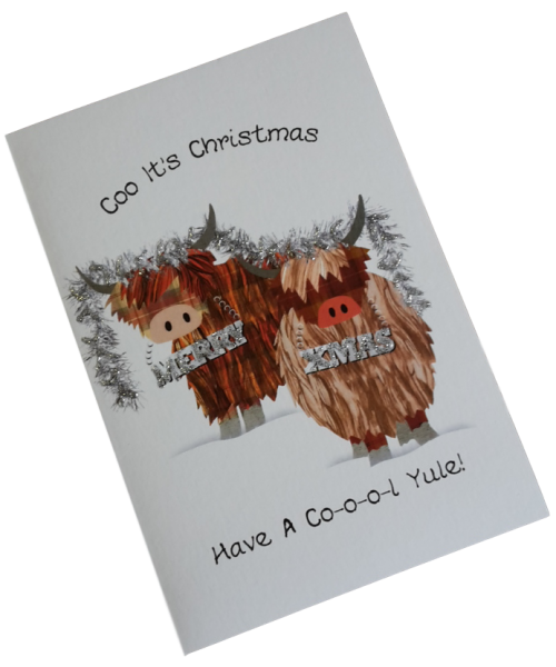 scottish christmas card highland cows
