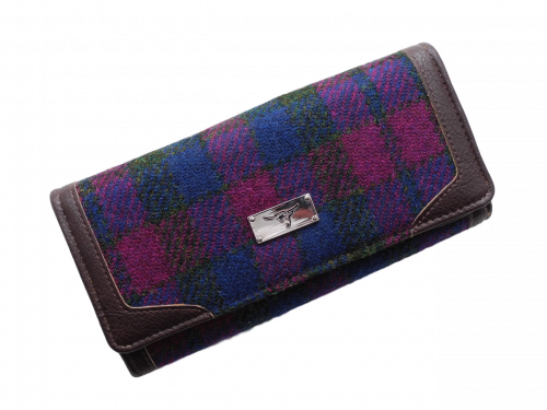 scottish ladies gift harris tweed purse wine navy check