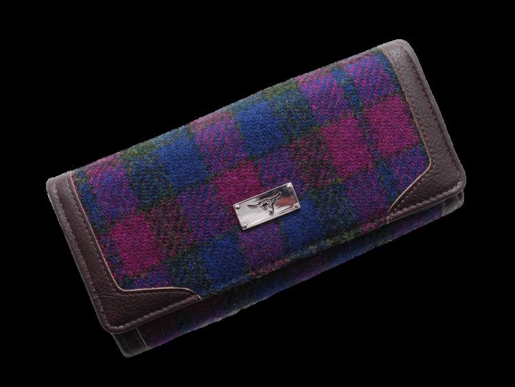scottish harris tweed purse pink