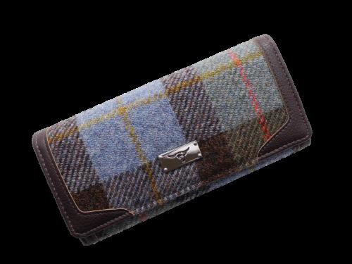 scottish ladies gift harris tweed purse blue green check
