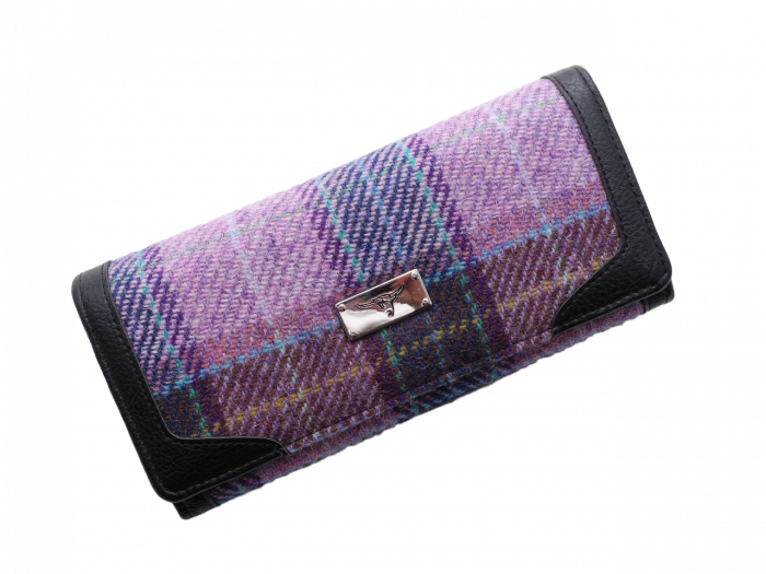scottish gift harris tweed purse lilac check
