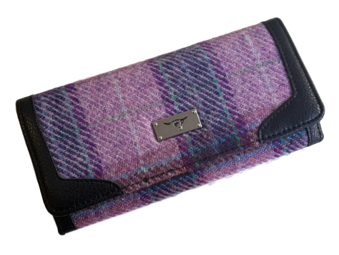 scottish gift harris tweed purse lilac check