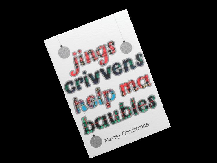 scottish christmas card tartan baubles doric scots language