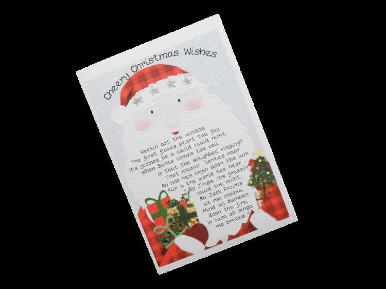 scottish christmas card tartan santa doric scots language humorous funny