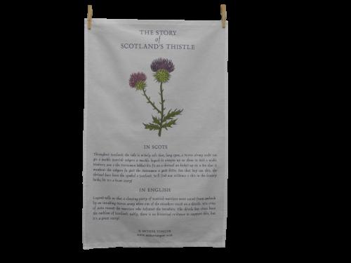 scottish tea towel the story of scotland's thistle scots language