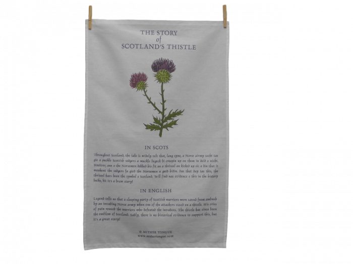 scottish tea towel the story of scotland's thistle scots language