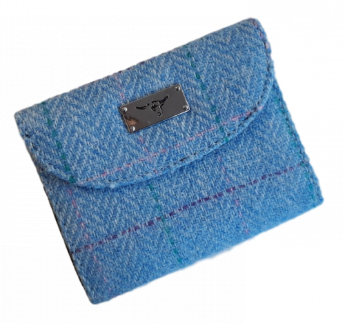 scottish gift harris tweed purse pale blue check