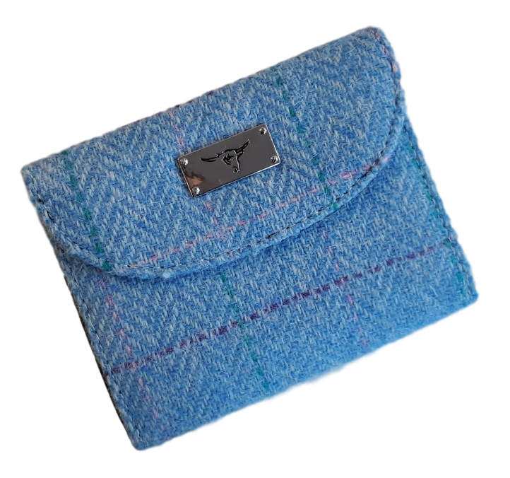 scottish gift harris tweed purse pale blue check