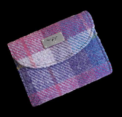 scottish gift harris tweed purse pink check