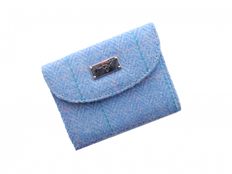 scottish ladies gift harris tweed purse pale blue check