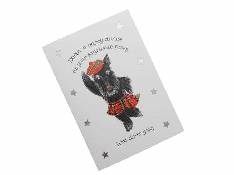 scottish scots doric language congratulations good news card tartan kilted Scottie dog humorous funny