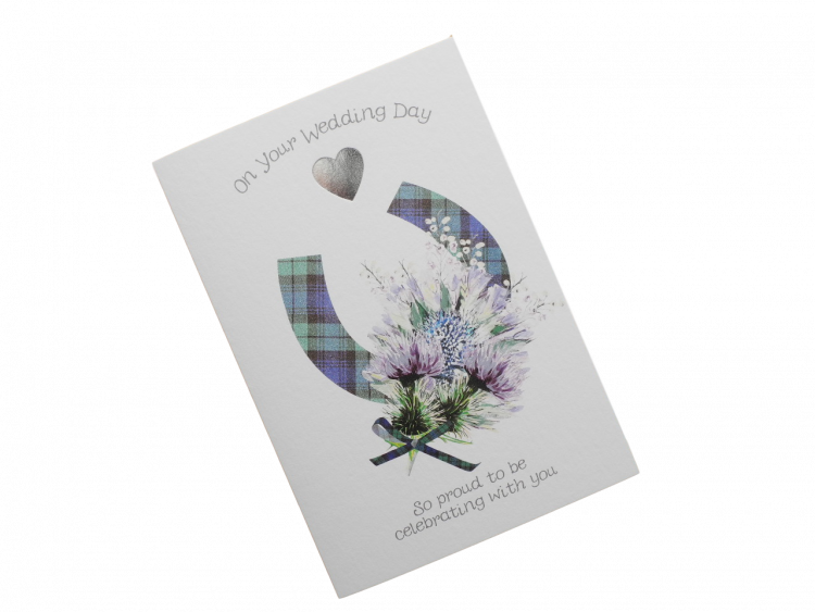 scottish wedding card tartan horseshoe thistle